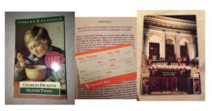 Oliver book, British Rail train ticket, and Oliver show program