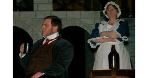 Mr. Bumble and me playing Widow Corney in Oliver