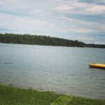 A floating dock on a lake