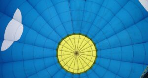Looking up at the inside of a hot air balloon