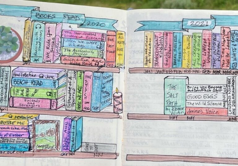 A hand drawn picture from a journal showing books on a bookcase. Titles of the books are written on the spines. At the top, there is a banner that reads Books Read 2020. To the right is the start of another drawn bookshelf with Books Read 2021 on a banner at the top of the page